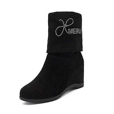 Damen Schuhe Kaschmir Winter Modische Stiefel Stiefel Runde Zehe Mittelhohe Stiefel Strass für Normal Schwarz