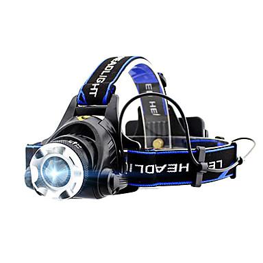billige Lommelykter & campinglykter-GELE044AB Hodelykter XM-L2 T6 emittere 4.0 lys tilstand med batterier Zoombare Profesjonell Camping / Vandring / Grotte Udforskning Dagligdags Brug Sykling Svart / Aluminiumslegering