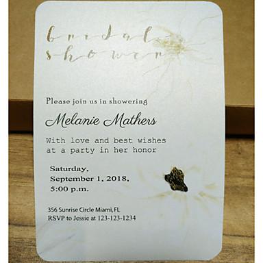 Pojedyncza Kartka Zaproszenia ślubne 50 szt - Zaproszenia Styl artystyczny Pearl Paper