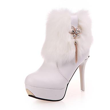 Naisten Kengät PU Syksy / Talvi Comfort / Maiharit / Välkkyvät kengät Bootsit Matala korko Pyöreä kärkinen Solmittavat Valkoinen / Musta