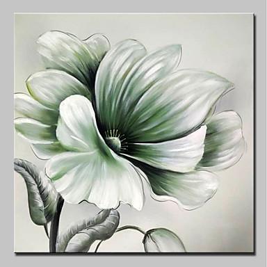 Hang-Malowane obraz olejny Ręcznie malowane - Kwiatowy / Roślinny Prosty / Nowoczesny Brezentowy / Rozciągnięte płótno