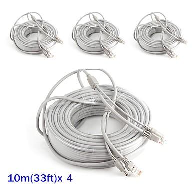 Kabel 4PCS 33ft CCTV RJ45 Video Cable DC Power Extension für Sicherheit Systeme 1000cm 1.23kg