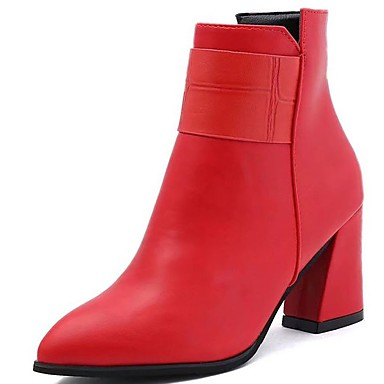 Damskie Obuwie Guma Zima Obuwie w stylu wojskowym Buciki Pointed Toe Black / Czerwony