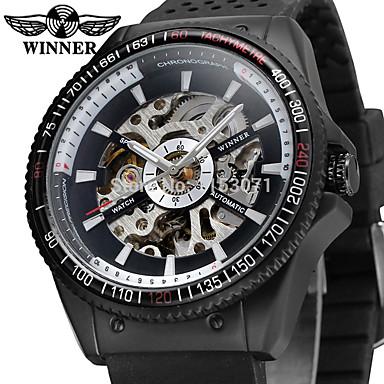 cc2cbed5e WINNER رجالي ساعة المعصم داخل الساعة أتوماتيك سيليكون أسود 30 m نقش جوفاء  مماثل عتيق كاجوال موضة - أبيض أسود