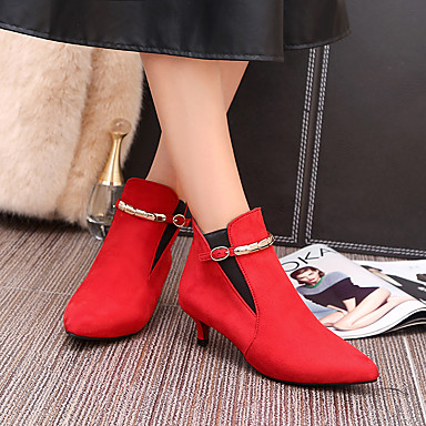 Women's Shoes Leatherette Fall / Winter Comfort Boots Walking Shoes Kitten Heel Pointed Toe Booties / Ankle Boots Buckle Gray / Red / Green