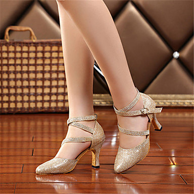 povoljno Kristalne plesne cipele-Žene Plesne cipele Umjetna koža Moderna obuća Štras / Kopča Sandale / Štikle Potpetica po mjeri Moguće personalizirati Zlato / Srebro / Profesionalac