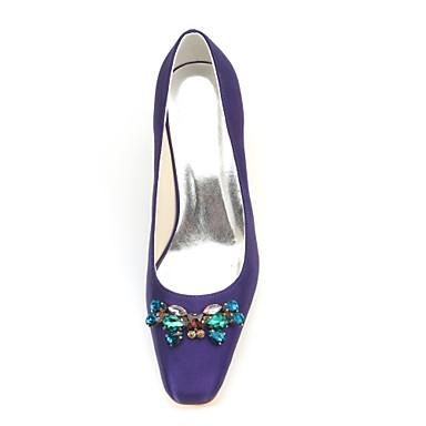 Automne Bout Femme Talon Elastique Pourpre carré Basique Escarpin foncé 06425735 de mariage Chaussures Chaussures Bas Satin Cristal Printemps rI17HqI