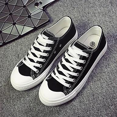 Dames Schoenen Canvas Herfst Comfortabel Sneakers Platte hak Ronde Teen Zwart / Geel / Rood