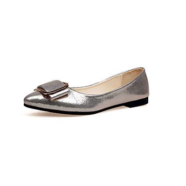 Dames Schoenen PU Herfst Comfortabel Platte schoenen Platte hak Combinatie Zilver / Licht Zwart / Gouden