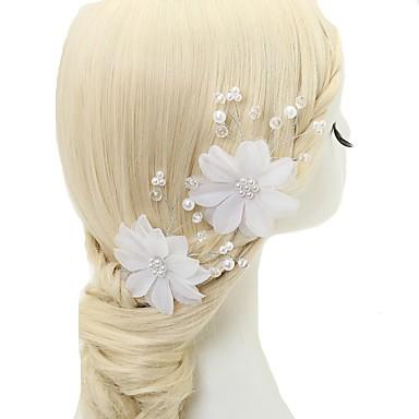 Szyfon / Kryształ / Imitacja pereł Szpilka do włosów z 2 szto. Ślub / Specjalne okazje Winieta