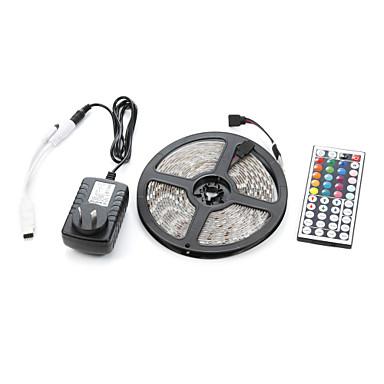 billige LED Strip Lamper-5m 300smd 5050 vanntett 44-tommers ir fjernkontroll 12V3a strømforsyning led stripe lys sett ac100-240v