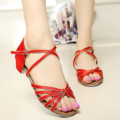 povoljno SUN LISA-Žene Saten / Umjetna koža Cipele za latino plesove / Standardni / Cipele za salsu Kopča Sandale Niska potpetica Nemoguće personalizirati Smeđa / Zlatna / Royal Blue / EU40