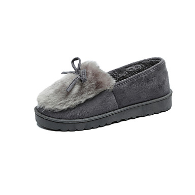 Dames Schoenen Fleece Zomer Comfortabel Platte schoenen Platte hak Strik Zwart / Rood