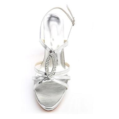 06430250 Bout Chaussures Satin mariage Eté Elastique de Talon Femme Cristal Argent Aiguille Escarpin Chaussures ouvert Paillette Basique wBUxqag7na