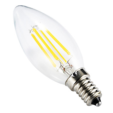 billige Stearinlyslamper med LED-BRELONG® 1pc 4 W 300-350 lm E14 LED-glødepærer C35 4 LED perler COB Mulighet for demping / Dekorativ Varm hvit 220-240 V / RoHs