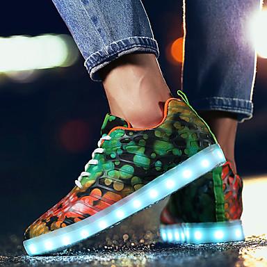 Férfi Light Up cipők Tüll Tavasz / Ősz Kényelmes Sportcipők Gyalogló Zöld / Kék / Szivárvány