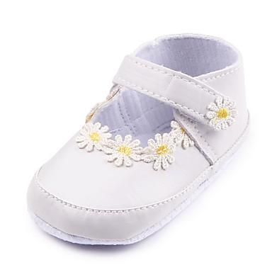 baratos Sapatos de Criança-Para Meninas Courino Rasos Crianças (0-9m) Conforto / Primeiros Passos / Sapatos de Berço Apliques / Velcro Branco / Preto Primavera / Outono / Festas & Noite