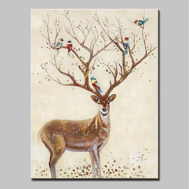 ieftine Supradimensionat Vopsire-Hang-pictate pictură în ulei Pictat manual - Animale Animal Modern Fără a cadru interior / Canvas laminat