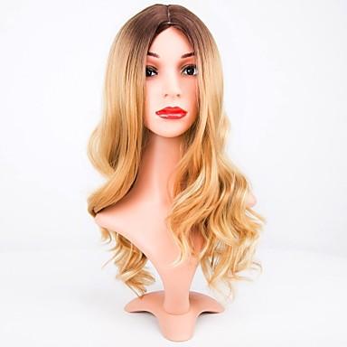 Peruki syntetyczne Naturalne fale Blond Fryzura cieniowana Włosy syntetyczne Przedziałek na środku Blond Peruka Damskie Długo Bez czepka