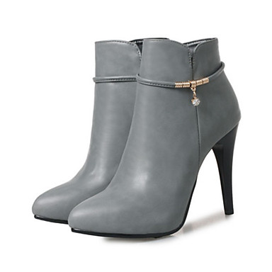 af57b16b7ed1 Femme Chaussures Polyuréthane Automne   Hiver Confort   Nouveauté Bottes  Talon haut Bout pointu Bottine   Demi Botte Rivet Noir   Gris