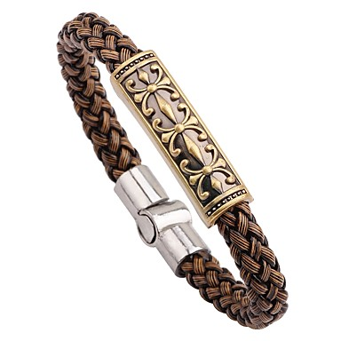 abordables Bracelet-Bracelets en cuir Bracelet Femme Cuir dames Gothique Mode Bracelet Bijoux Marron Forme de Cercle pour Cadeau Sortie