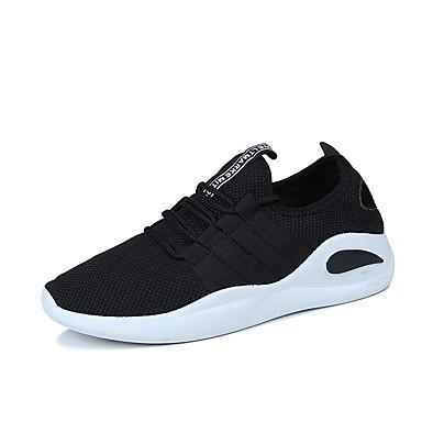 Homens sapatos Couro Ecológico Primavera Outono Conforto Tênis para Ao ar livre Branco Preto