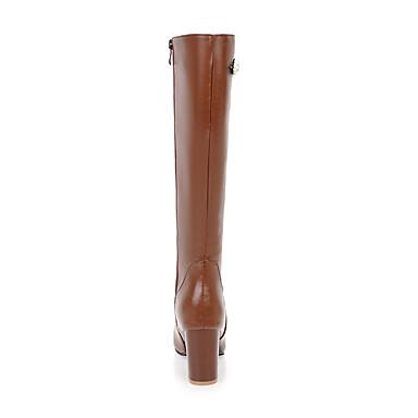 Marron carré 06421602 Imitation Bottes la Bottes Femme Bottes Perle Noir Similicuir Automne à Chaussures Mode Hiver Beige Bottier Talon Bout 77H1Uw