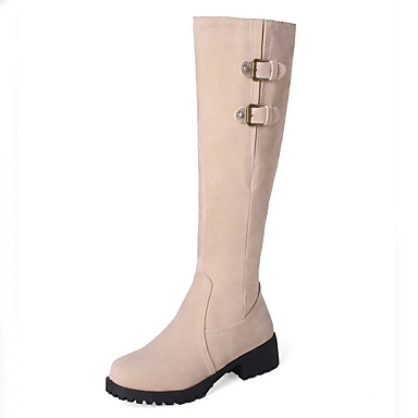 e18444777f7 Γυναικεία Παπούτσια Δέρμα Nubuck Χειμώνας Φθινόπωρο Μοντέρνες μπότες Μπότες  Κοντόχοντρο Τακούνι Στρογγυλή Μύτη Μπότες ως το Γόνατο Μπότες