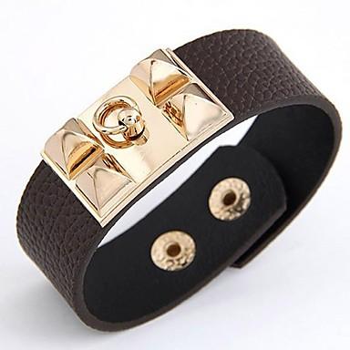baratos Bangle-Mulheres Bracelete Pulseiras de couro Importante senhoras Fashion Hip-Hop Pele Pulseira de jóias Preto / Marron / Azul Para Bandagem Bagels