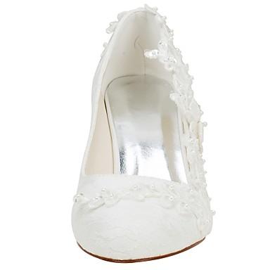 Escarpin Cristal Ivoire rond 06430424 Bottier Chaussures de Talon Bout mariage Satin Perle Elastique Basique Femme Automne Chaussures Printemps pqXSX6