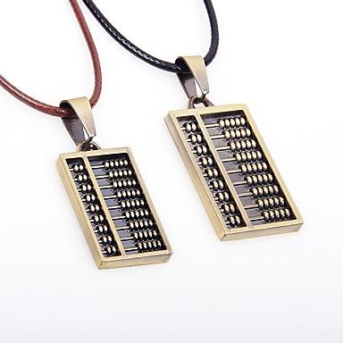 Dla par Skórzany Naszyjniki z wisiorkami - Azjatycki Vintage Prostokątne Bronze Naszyjniki Na Codzienny Wyjściowe