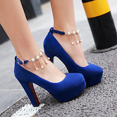 Nouveauté Talons 06440444 Chaussures rond haut Confort Chaussures Rivet Billes Bout Printemps Automne Boucle à Nubuck Talon Cuir Femme OYqzwTBT