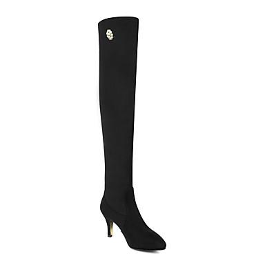 Hiver Chaussures Bottes Cuissarde pointu Mode Talon Bas Nubuck Cuir Noir Femme à Strass la Bottes 06425723 Bottes Automne Bout pdqIZz