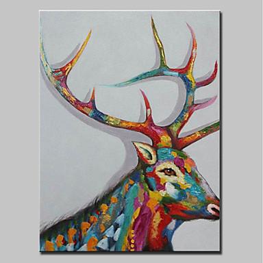 Hang-Malowane obraz olejny Ręcznie malowane - Zwierzęta Zwierzęta / Nowoczesny Płótno / Zwijane płótno