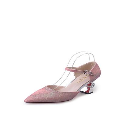 レディース 靴 PUレザー 春 夏 コンフォートシューズ コンバットブーツ ヒール スティレットヒール ラウンドトウ のために カジュアル シルバー ブルー ピンク