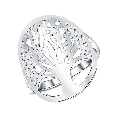 billige Motering-Dame Statement Ring / Micro Pave Ring Sølv Sølvplett damer / Mote Daglig Kostyme smykker / Livets tre