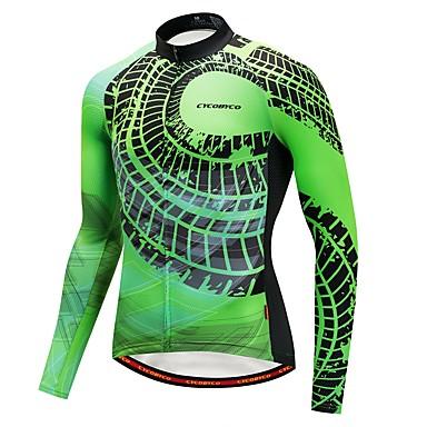 CYCOBYCO Homme Manches Longues Maillot de Cyclisme - Vert Classique Mode Cyclisme Shirt Maillot Hauts / Top Séchage rapide Bandes Réfléchissantes Des sports Polyester 100 % Polyester VTT Vélo tout