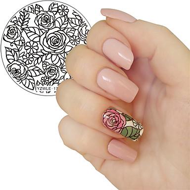 1szt kwitnący kwiat róży szablon do zdobienia paznokci obraz płyty yzwle paznokci tłoczenia płyty manicure szablony narzędzia