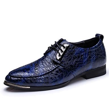 Homens sapatos Pele Napa Primavera Outono Conforto Oxfords Caminhada Cadarço para Casamento Casual Festas & Noite Azul