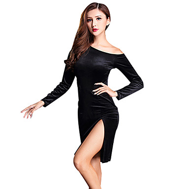 Taniec latynoamerykański Suknie Damskie Szkolenie Spandeks Rozporek Długi rękaw Wysoki Ubierać