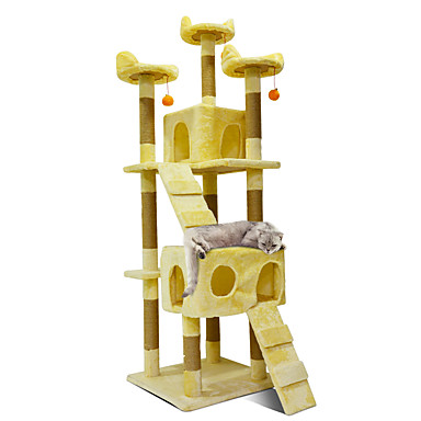 חתול בתים עץ אומנות גירוד חיות מחמד ליינרים אחיד אופנתי קפיצות מרובה שכבות רך קיפול מתנת Girlfriend מקצועי רב תכליתי בז' כחול כהה חום