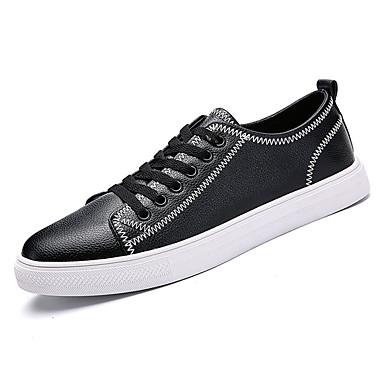 בגדי ריקוד גברים עור נאפה Leather / עור אביב / סתיו נוחות נעלי ספורט לבן / שחור / Wine