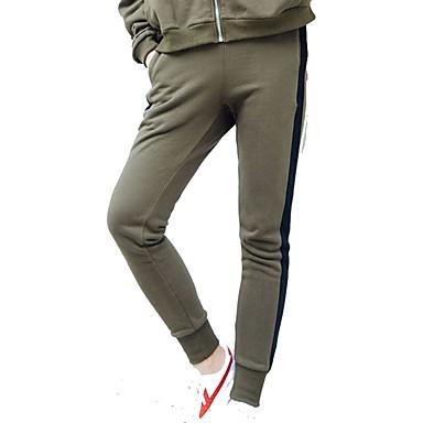 בגדי ריקוד נשים 1 מכנסי ריצה - שחור, ירוק צבא ספורט פס ספנדקס מכנסיים יוגה, כושר וספורט, חדר כושר לבוש אקטיבי נשימה