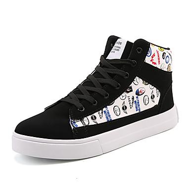 בגדי ריקוד גברים נעליים PU אביב / סתיו נוחות נעלי ספורט שחור / שחור לבן
