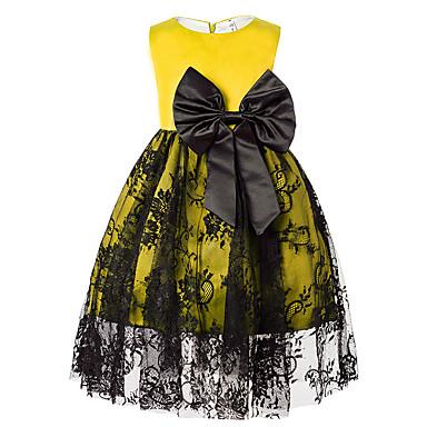 שמלה ללא שרוולים תחרה קולור בלוק / סרוג וינטאג' / יום יומי בנות פעוטות / כותנה / חמוד