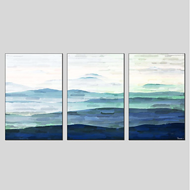 ציור שמן צבוע-Hang מצויר ביד - מופשט מודרני כלול מסגרת פנימית / שלושה פנלים / בד מתוח