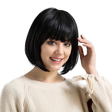 שיער ללא שיער שיער אנושי Kinky Straight תספורת בוב עם פוני שיער טבעי בינוני הוכן באמצעות מכונה פאה בגדי ריקוד נשים