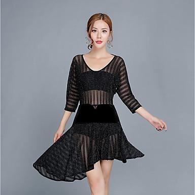 ריקוד לטיני שמלות בגדי ריקוד נשים הצגה ספנדקס קפלים שרוול 4\3 טבעי שמלה