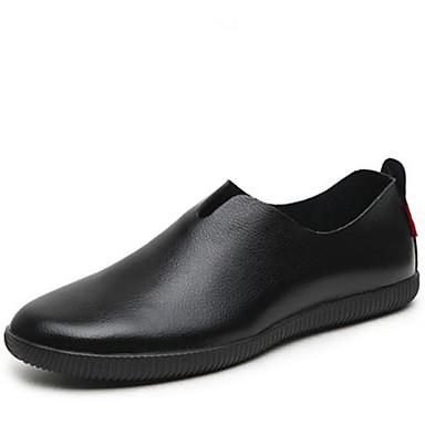 בגדי ריקוד גברים נעליים עור אביב / סתיו נוחות נעליים ללא שרוכים שחור / חום