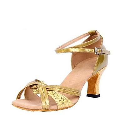 נעליים לטיניות Paillette / דמוי עור סנדלים עקב עבה מותאם אישית נעלי ריקוד זהב / כסף